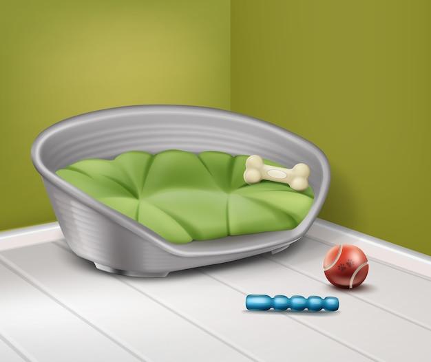 Ilustração em vetor de lugar para cachorro com diferentes brinquedos em casa, isolados no fundo