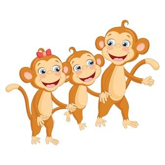 Ilustração em vetor de macacos de desenho animado