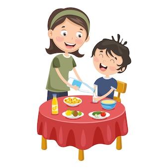 Ilustração em vetor de mãe preparar café da manhã para criança