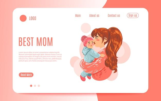 Ilustração em vetor de mãe segurando o filho bebê nos braços. feliz dia das mães cartão