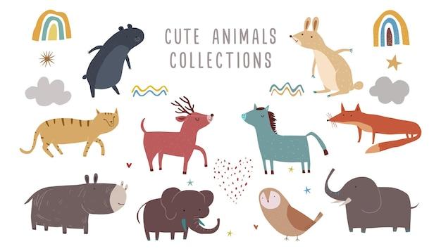 Ilustração em vetor de mamíferos fofos coleção de personagens de animais fofos