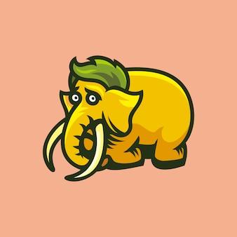 Ilustração em vetor de mamute com medo