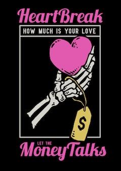Ilustração em vetor de mão caveira segurando um coração amor com preço nele.