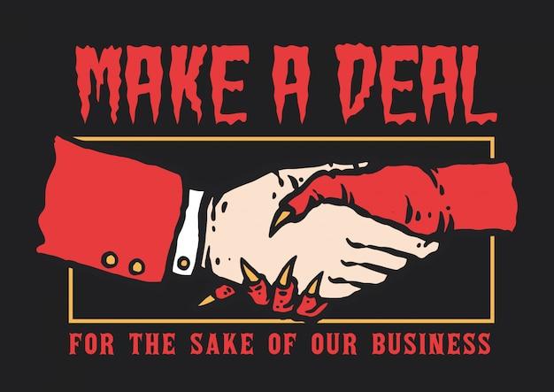 Ilustração em vetor de mão tremendo entre homem e diabo fazer um acordo para negócios