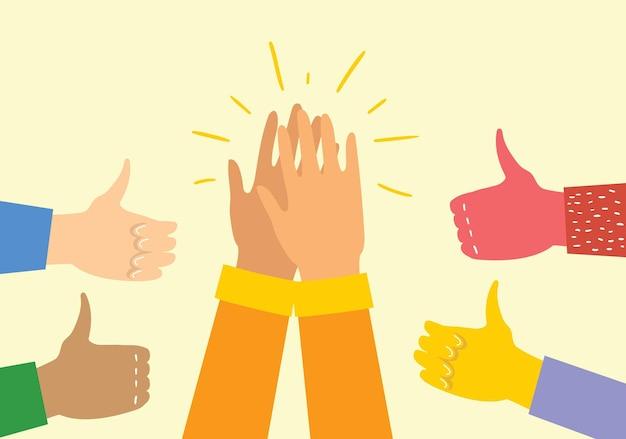 Ilustração em vetor de mãos diferentes batendo palmas, aplaudindo ilustração vetorial de mãos