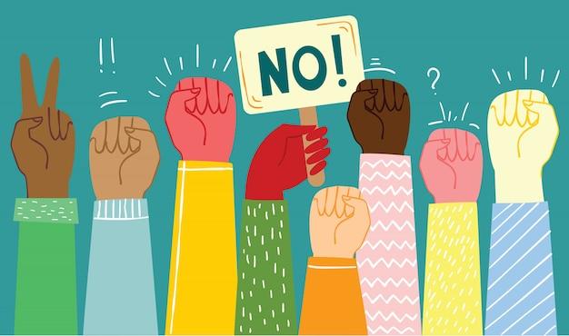 Ilustração em vetor de mãos diferentes. conceito de unidade, protesto, revolução, luta, cooperação. design de contorno plano