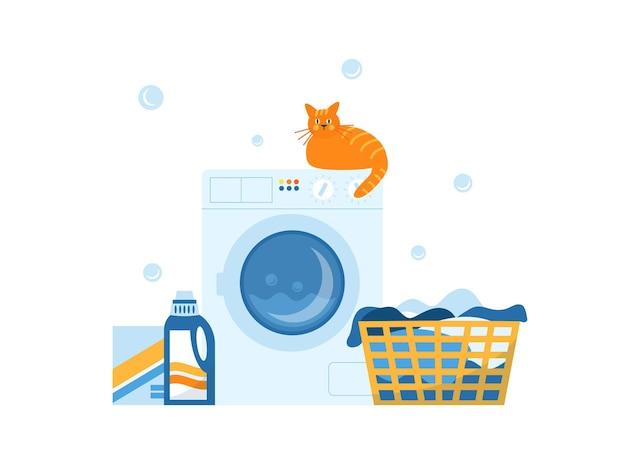 Ilustração em vetor de máquina de lavar e cesto de roupa suja, isolado no fundo branco.