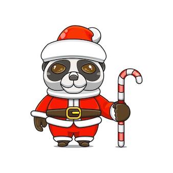 Ilustração em vetor de mascote monstro fofo panda vestindo fantasia de papai noel segurando um bastão de doces