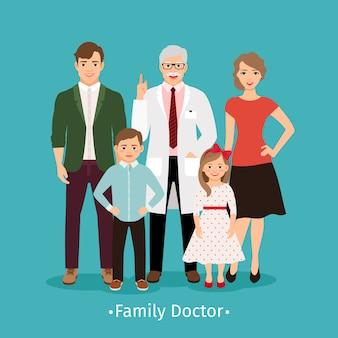 Ilustração em vetor de médico de família. pacientes jovens felizes e conceito de medicina sorridente retrato praticante