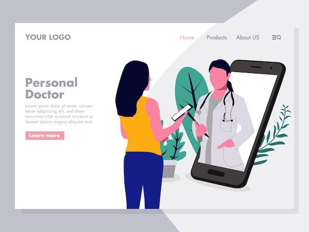 Ilustração em vetor de médico pessoal on-line para a página de destino