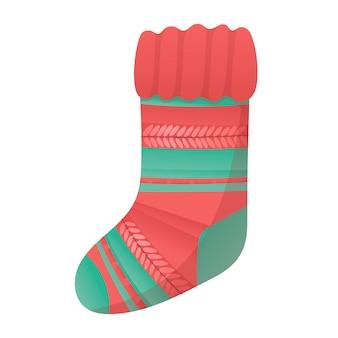 Ilustração em vetor de meia de lã tricotada de natal com padrão.