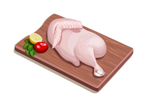 Ilustração em vetor de meio frango cru com pele organizada em uma placa de madeira