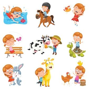 Ilustração em vetor de menina brincando com animais