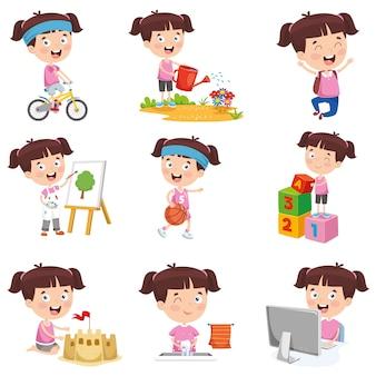 Ilustração em vetor de menina dos desenhos animados, fazendo várias atividades