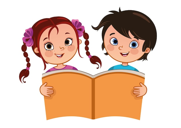 Ilustração em vetor de menina e menino segurando um grande livro