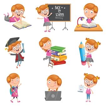 Ilustração em vetor de menina pequena escola