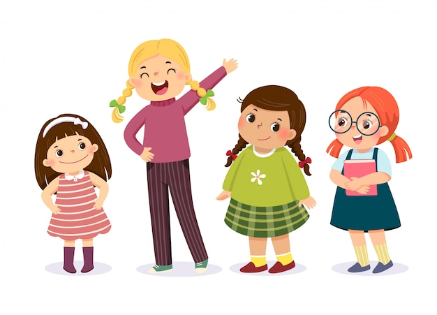 Ilustração em vetor de meninas bonitos em caráter diferente.