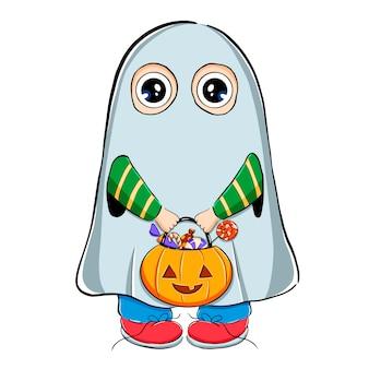 Ilustração em vetor de menino bonito dos desenhos animados em fantasia de fantasma de halloween com doces