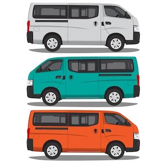 Ilustração em vetor de microônibus isolada no formato editável de fundo branco completo