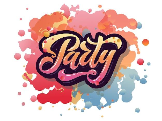 Ilustração em vetor de modelo de cartaz de festa com tipografia de letras 3d ícone de marca do emblema de festa par