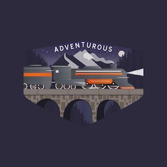 Ilustração em vetor de modelo de design de logotipo gráfico com trem correndo na ponte de pedra contra os picos das montanhas e o céu noturno estrelado com inscrição aventureira isolada em fundo escuro