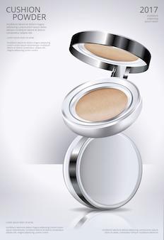 Ilustração em vetor de modelo de poster de coxim de pó de maquiagem