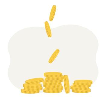 Ilustração em vetor de moedas com ampliação. conceito de lucro e renda
