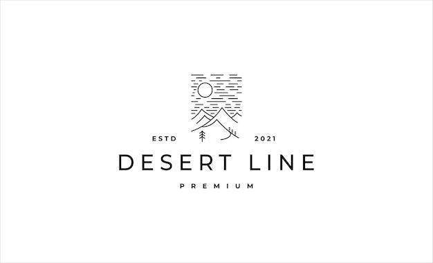 Ilustração em vetor de monoline logo design de paisagem de deserto