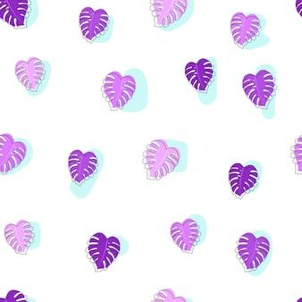 Ilustração em vetor de monstera violeta na moda deixa padrão sem emenda com contorno de doodle. decoração de fundo.