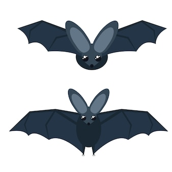 Ilustração em vetor de morcegos cinzentos com asas grandes. isolado