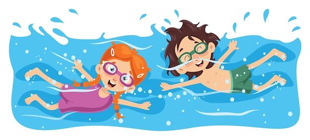 Ilustração em vetor de natação infantil