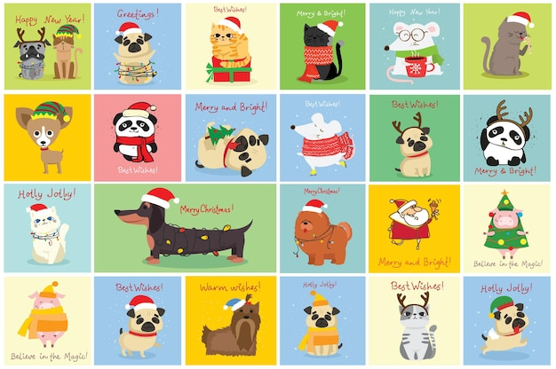 Ilustração em vetor de natal gatos, ratos, porcos e cães com saudações de natal e ano novo fofos ...