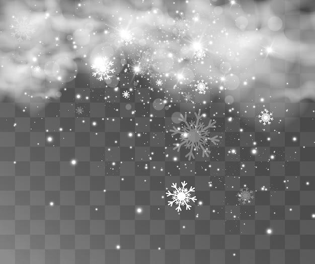 Ilustração em vetor de neve voando em um fundo transparente; fenômeno natural de queda de neve ou bli