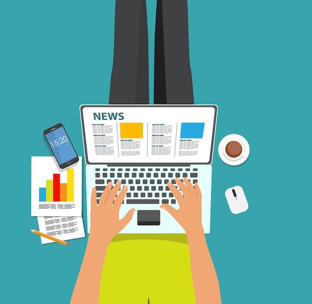 Ilustração em vetor de notícias online. fundo plano de computação