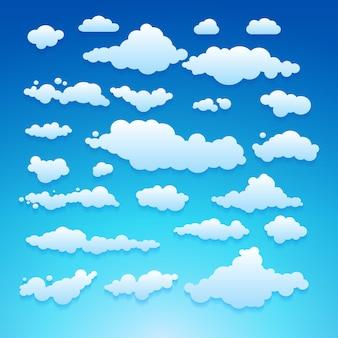 Ilustração em vetor de nuvens coleção conjunto azul