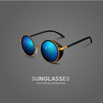 Ilustração em vetor de óculos de sol elegante, vidro azul, moldura dourada