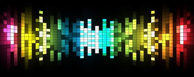 Ilustração em vetor de ondas sonoras abstraem base de festa brilhante