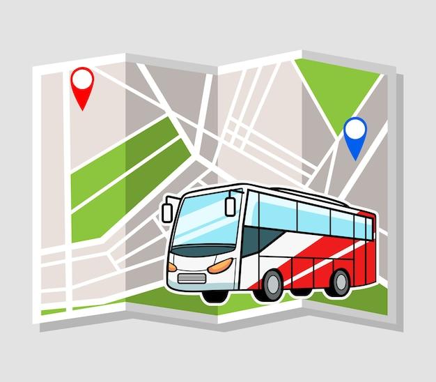 Ilustração em vetor de ônibus com mapa da cidade como pano de fundo