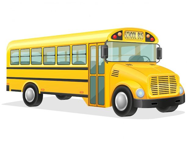 Ilustração em vetor de ônibus escolar