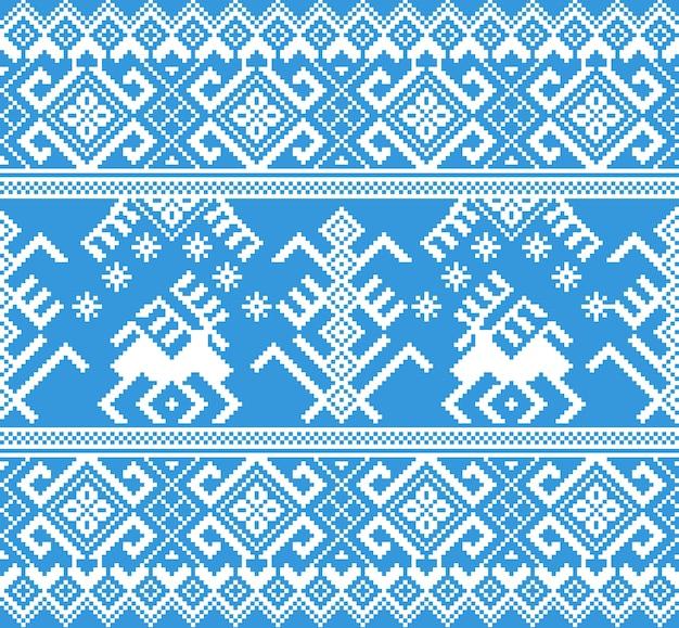 Ilustração em vetor de ornamento de padrão sem emenda popular. ornamento azul étnico de ano novo com pinheiros e veados. elemento de fronteira étnica legal
