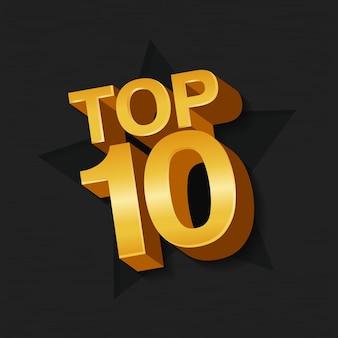 Ilustração em vetor de ouro colorido top 10 dez palavras e estrela em fundo escuro.
