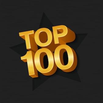 Ilustração em vetor de ouro colorido top 100 cem palavras e estrela em fundo escuro.