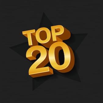 Ilustração em vetor de ouro colorido top 20 vinte palavras e estrela em fundo escuro.