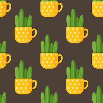Ilustração em vetor de padrão de taça cacto. desenho sem emenda de um longo cacto em uma bela xícara amarela. copo amarelo enorme em bolinhas brancas com cacto em fundo marrom.