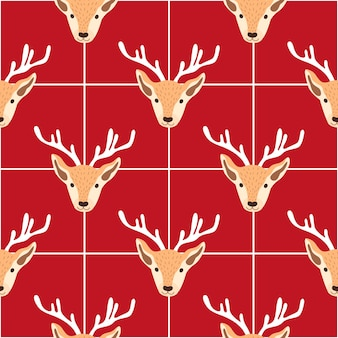 Ilustração em vetor de padrão festivo de natal com cabeças de renas e flocos de neve