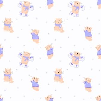 Ilustração em vetor de padrão sem emenda com gatos bonitos dos desenhos animados. inverno, agasalhos, suéter, luvas e cachecol. decorações de ano novo e natal com neve.