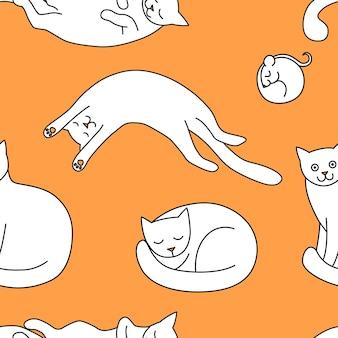 Ilustração em vetor de padrão sem emenda com gatos e ratos