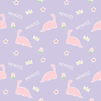 Ilustração em vetor de padrão sem emenda de fofa princesa dinossauro rosa animais selvagens
