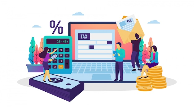 Ilustração em vetor de pagamento de impostos on-line