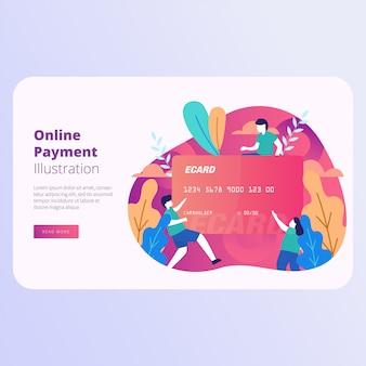 Ilustração em vetor de página de destino de pagamento on-line